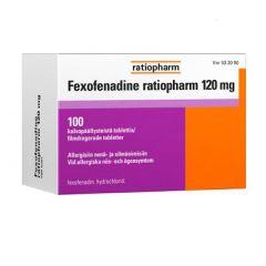 FEXOFENADINE RATIOPHARM 120 mg tabl, kalvopääll 100 fol